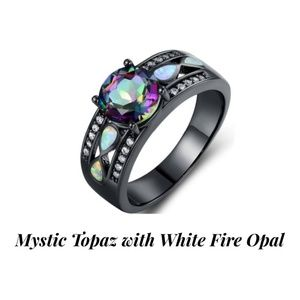 Mystic Topaz with White Fire Opal & Black Rhodium